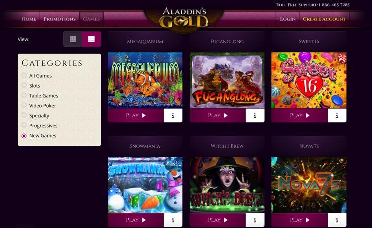 Aladdin's Gold Casino Games