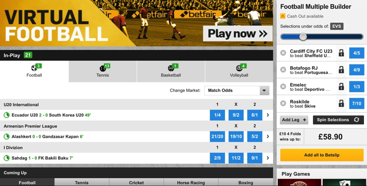 Betfair Features Screenshot