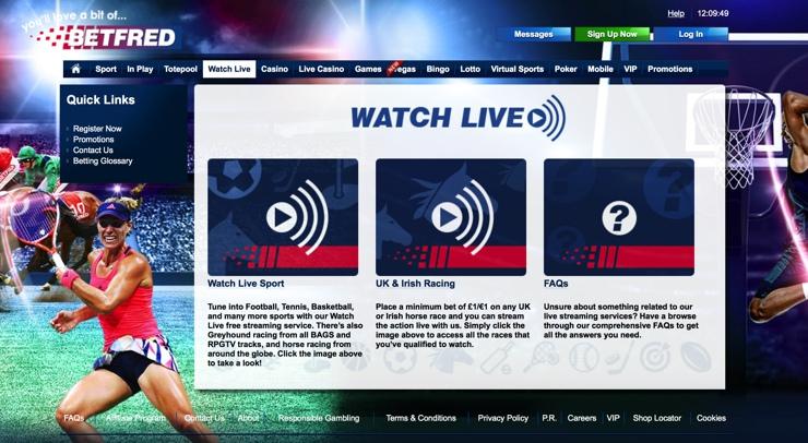 Betfred Features Screenshot