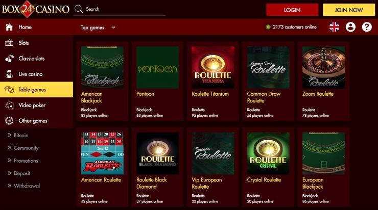 Box 24 Casino Games