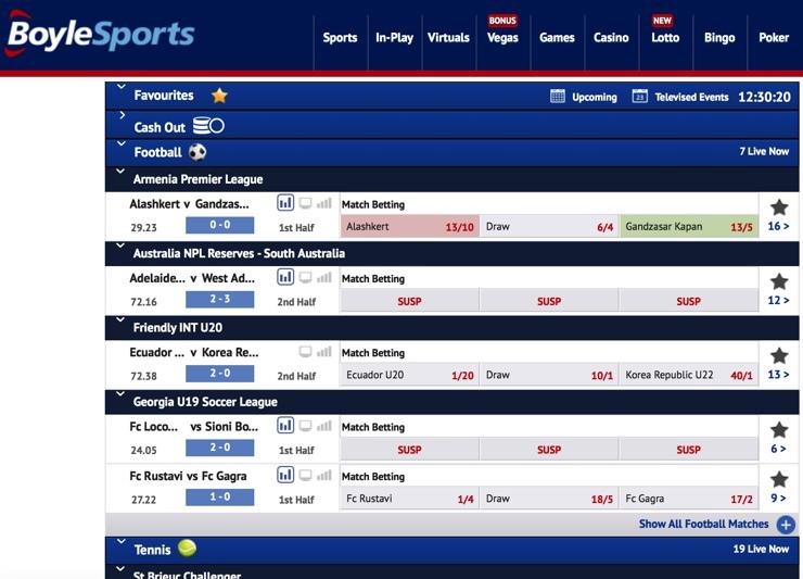 Boylesports Features Screenshot