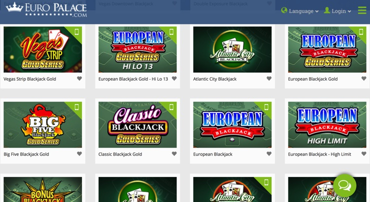 Euro Palace Casino Games