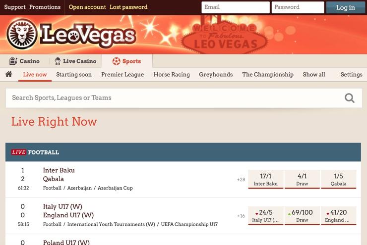 LeoVegas Features Screenshot