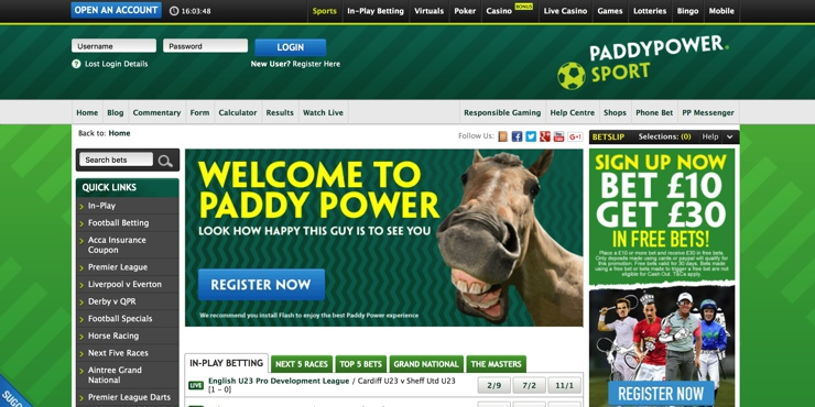 Paddy Power Screenshot