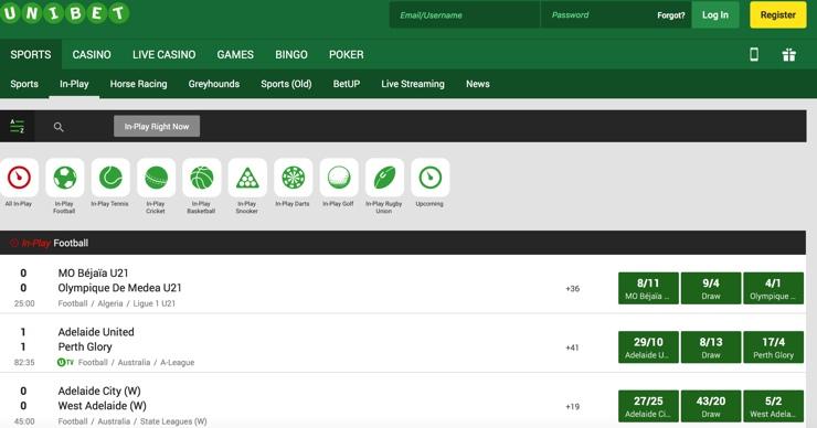 Unibet Features Screenshot